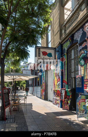 Teatro Sidarte in the lively district of Bellavista with many pubs and clubs, Santiago - Stock Photo