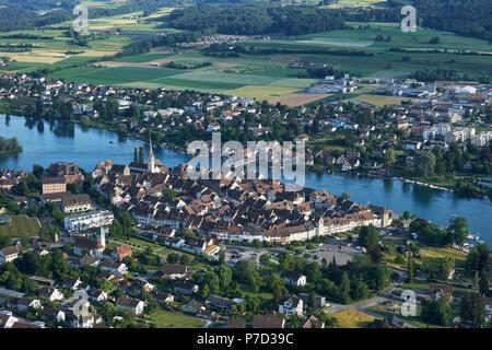 View to the historical old town of Stein am Rhein, Canton Schaffhausen, Switzerland - Stock Photo