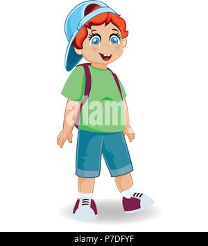 Vector illustration of cute smiling redheaded ginger schoolboy with backpack isolated on white background. Back to school concept. Little cheerful boy - Stock Photo