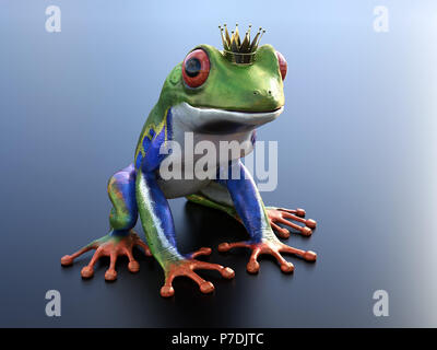 Realistic 3D rendering of a green, blue and orange colored red-eyed tree frog, Agalychnis callidryas, wearing a crown - ready to be kissed and turned  - Stock Photo