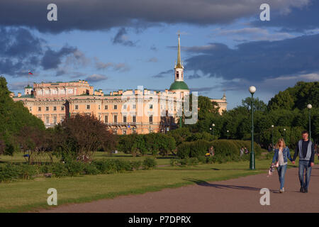 St. Petersburg, Russia - July 3, 2018: Everyday life of the city during FIFA World Cup Russia 2018. Saint Petersburg hosts 7 matches of FIFA World Cup - Stock Photo