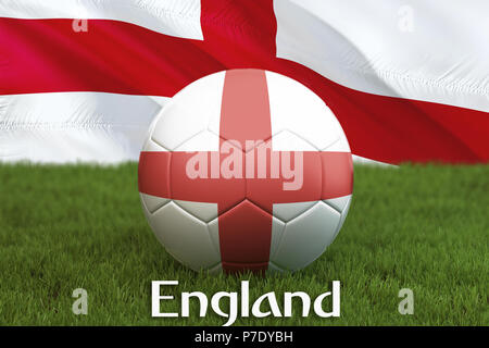 England football team ball on big stadium background. England Team competition concept. England flag on ball team tournament in Russia. Sport competit - Stock Photo