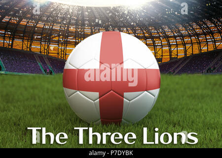England football team ball on big stadium background with The Three Lions text. England Team competition concept. England flag on team tournament. Spo - Stock Photo