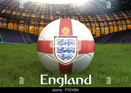 England football team ball on big stadium background with England Team logo competition concept. England flag on ball team tournament in Russia.Sport  - Stock Photo