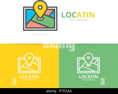 Simple gps, location, route map, navigator logo design template. Symbol and sign vector illustration - Stock Photo