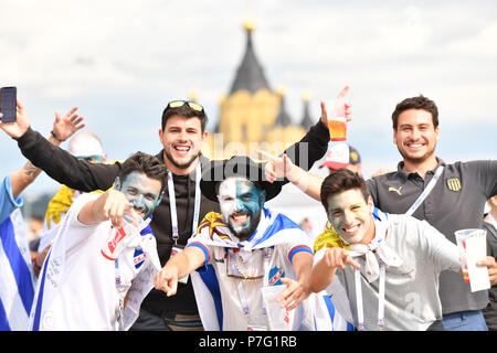 Nizhny Novgorod, Russia. 6th July, 2018. Fans are seen prior to the 2018 FIFA World Cup quarter-final match between Uruguay and France in Nizhny Novgorod, Russia, July 6, 2018. Credit: Liu Dawei/Xinhua/Alamy Live News - Stock Photo