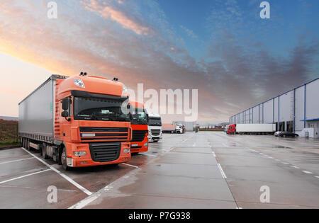 Truck in warehouse - Cargo Transport - Stock Photo