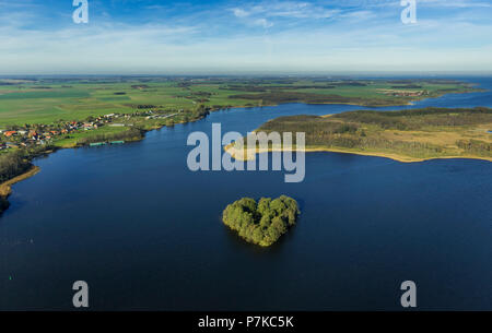 Lake Kleine Müritz with heart-shaped Baumwall Island, Rechlin, Mecklenburg Lake Plateau, Mecklenburg-Western Pomerania, Germany - Stock Photo