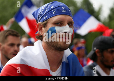 Nizhny Novgorod, Russia. 6th July, 2018. French football fan seen during the match.French football fans celebrate their national football team victory over uruguay during the quarterfinal match of the Russia 2018 world cup finals. Credit: Aleksey Fokin/SOPA Images/ZUMA Wire/Alamy Live News - Stock Photo