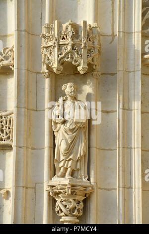 France, Ain, Bourg-en-Bresse, Saint-Nicolas-de-Tolentin de Brou church, 16th century, flamboyant gothic-style, is part of the Brou royal monastery - Stock Photo