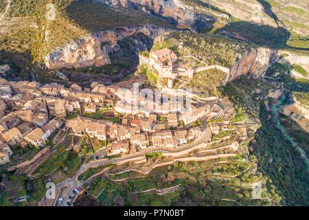 Aerial view of Alquezar village at sunset. Alquezar, Huesca, Aragon, Spain, Europe - Stock Photo