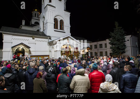 Belarus, the city of Gomel, on April 8, 2018. Nicholas Monastery.A crowd of people at the church - Stock Photo