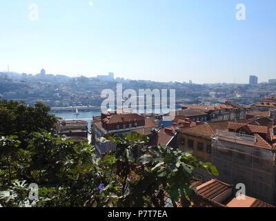 View of the cities of Porto, Vila Nova de Gaia and the river Duero. Portugal. - Stock Photo