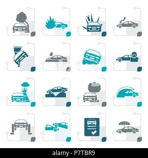 Stylized car and transportation insurance and risk icons - vector icon set - Stock Photo
