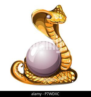 Statuette in the form of a golden cobra guarding the pearl, isolated on white background. Vector cartoon close-up illustration. - Stock Photo
