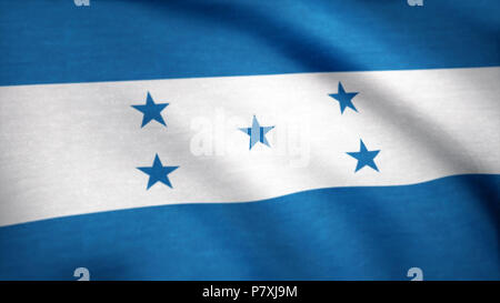A beautiful satin finish looping flag animation of Honduras. Honduras flag waving in the wind. Background with rough textile texture. Animation loop - Stock Photo