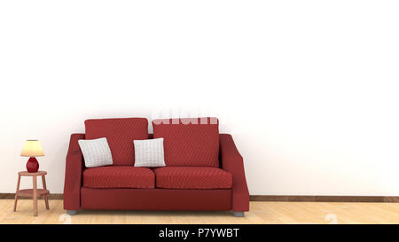Modern interior design of living room with red sofa on wooden floor. White cushions and lamp on wooden table elements. Home and Living concept. Lifest - Stock Photo