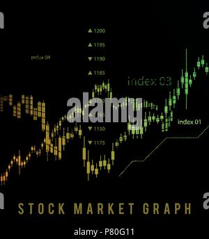 The schedule for changing the stock market graph in a positive direction. The investment economy and the development of new financial tools for trade online. Vector - Stock Photo