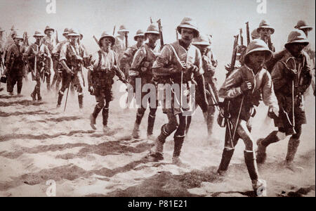 During the Mesopotamian campaign in the Middle Eastern theatre of World War I, Allied troops had to walk hundreds of miles across deserts in heat that could cause sunstroke if care wasn't taken. The battles were  fought between the Allies represented by the British Empire, mostly troops from Britain, Australia and the British Indian, and the Central Powers, mostly of the Ottoman Empire. - Stock Photo