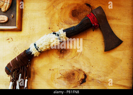Ax in the Cowboy home with many decorative home - Stock Photo