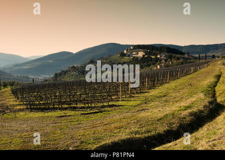 Vineyards in Chianti during winter season and small Village of Nipozzano on background. Tuscany, Italy. - Stock Photo