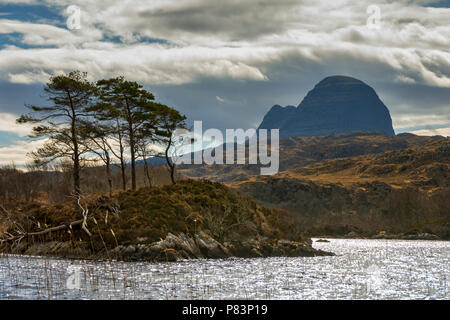 Suilven from Loch Druim Suardalain, Glen Canisp Forest, near Lochinver, Coigach, Sutherland, Highland Region, Scotland, UK - Stock Photo