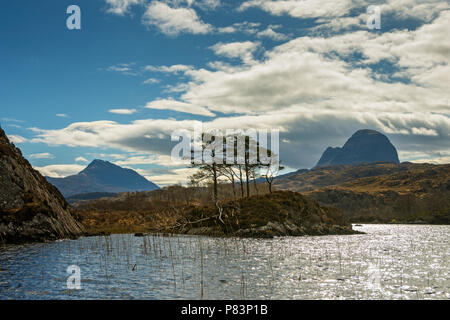 Canisp and Suilven from Loch Druim Suardalain, Glen Canisp Forest, near Lochinver, Coigach, Sutherland, Highland Region, Scotland, UK - Stock Photo