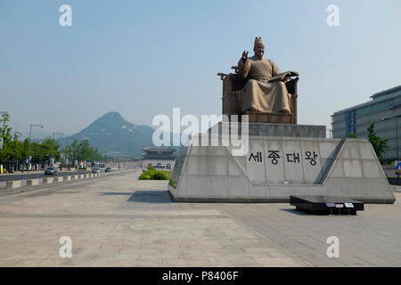 Statue of Sejong the Great King at the Sejongno Gwanghwamun Plaza in Central Seoul, South Korea. - Stock Photo