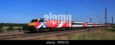 Virgin trains 91101 Flying Scotsman, East Coast Main Line Railway, Peterborough, Cambridgeshire, England, UK - Stock Photo