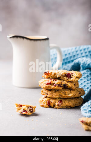 Oat meal cookies with raisins - Stock Photo
