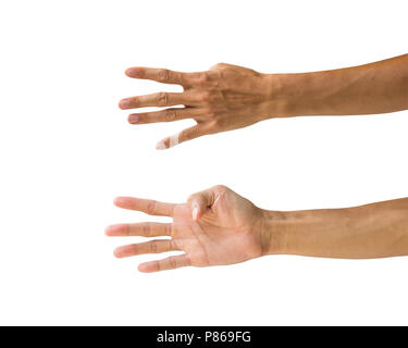 Clipping path hand gestures isolated on white background. Hand making number five sign or symbol gesture. Back and front hand gesture. - Stock Photo