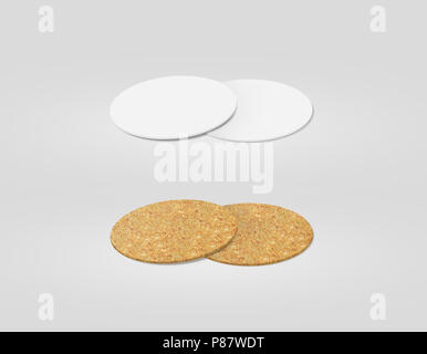 Stack of blank white and cork textured beer coasters mockup, clipping path, 3d illustration. Round clear mug mat design mock up. Circle cup rug displa - Stock Photo