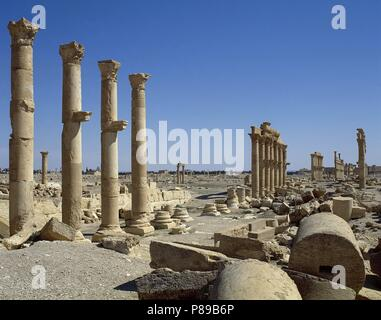 Syria. Palmyra city. The Great Colonnade. Roman Empire ruins. Tadmur, Homs. Photo before Syrian Civil War. - Stock Photo