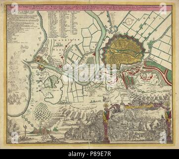The Siege of Danzig, 1734. Museum: State History Museum, Moscow. - Stock Photo