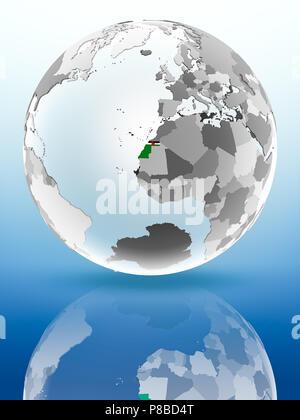 Western Sahara with flag on globe reflecting on shiny surface. 3D illustration. - Stock Photo