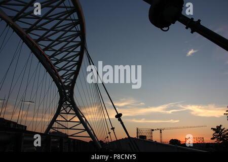 Rome, Italy. 10th July 2018. Beautiful sunset in Rome seen from the Garbatella district and Ponte Settimia Spizzichino bridge Credit: Gari Wyn Williams/Alamy Live News - Stock Photo
