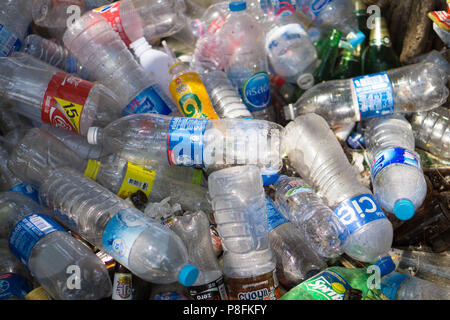 RAYONG, THAILAND - APRIL 12, 2016 : Plastic bottles in Rayong. The plastic is gathered to be recycled. - Stock Photo