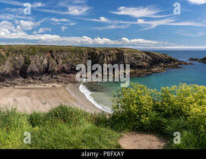 The sandy beach at Caerfai Bay - Stock Photo