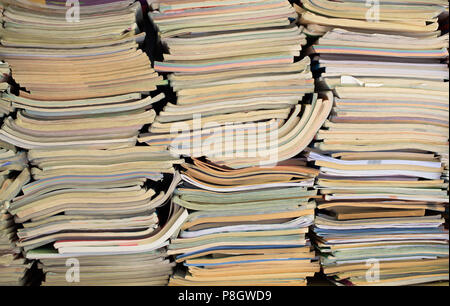 Lot of old books - three colomns - Stock Photo