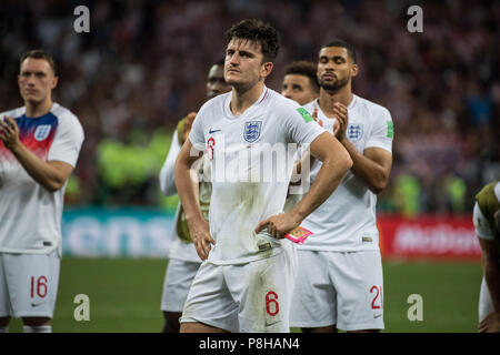 Harry MAGUIRE (ENG) is disappointed, disappointed, disappointed, disappointed, sad, frustrated, frustrated, hastate, half figure, half figure, Croatia (CRO) - England (ENG) 2: 1, Semifinals, Game 62, on 07/11/2018 in Moscow; Football World Cup 2018 in Russia from 14.06. - 15.07.2018. | Usage worldwide - Stock Photo