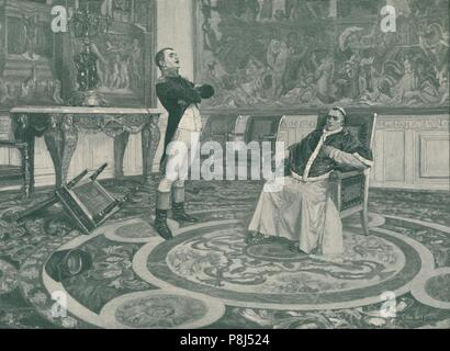'Napoleon And Pius VII at Fontainbleau', 1813, (1896). Pope Pius VII (1742-1823) was exiled by Napoleon (1769-1821). The exile ended only when Pius VI - Stock Photo