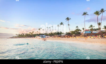 Sun set at Bayahibe beach, La Romana, Dominican republic - Stock Photo