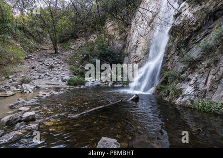 Sturtevant Falls and Santa Anita Canyon in the Angeles National Forest above Pasadena and LA California. - Stock Photo