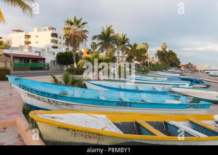 Fishermens boats on the beach in La Paz, Mexico - Stock Photo