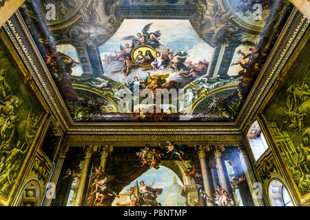 The painted hall ceiling by Sir James Thornhill at the Old Royal Naval College, Greenwich, London, UK - Stock Photo