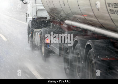 Muenchen, Germany, bleed, truck in snowfall on the highway - Stock Photo