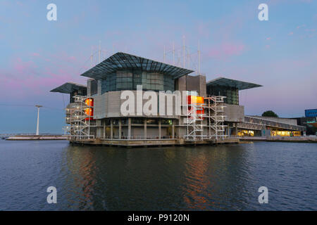 Lisbon, Portugal - July 07, 2018: Lisbon Oceanarium, the second largest oceanarium in the world and the biggest in Europe with a view over the Parque  - Stock Photo