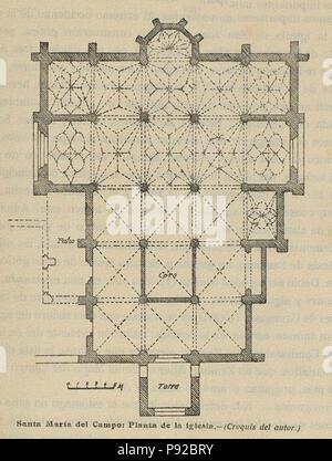 18 1920-06, Boletín de la Sociedad Española de Excursiones, Santa María del Campo, planta de la iglesia, Vicente Lampérez - Stock Photo