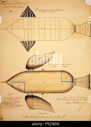 Plateforme aérienne cerf-volant libre dirigeable, système Vaussin-Chardanne. Feiulle no. 1-Scaled design  shows system for navigating airship using propellers. 1853 - Stock Photo