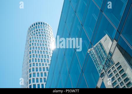 Berlin, Germany - july 2017: Skyscpaper  buildings 'Upper West' and 'Zoofenster' (Zoo Window) at Kurfuerstendamm in Berlin, Germany - Stock Photo